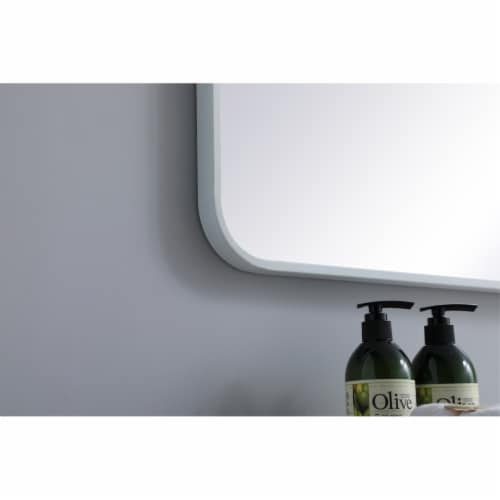 Soft corner metal rectangular mirror 30x60 inch in White Perspective: bottom