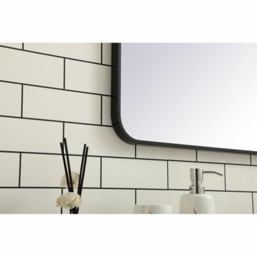 Soft corner metal rectangular mirror 36x36 inch in Black Perspective: bottom