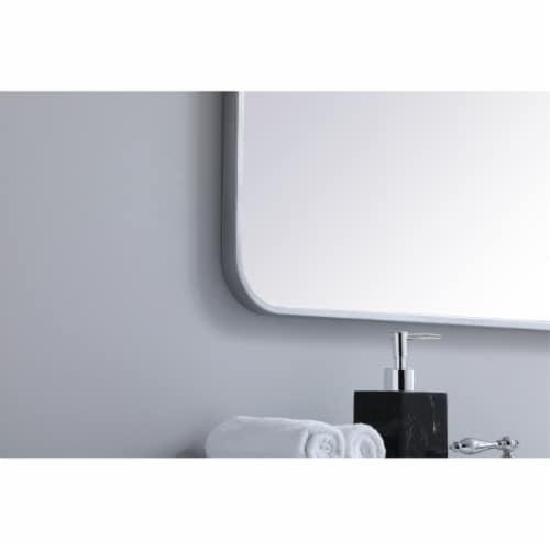 Soft corner metal rectangular mirror 36x36 inch in Silver Perspective: bottom