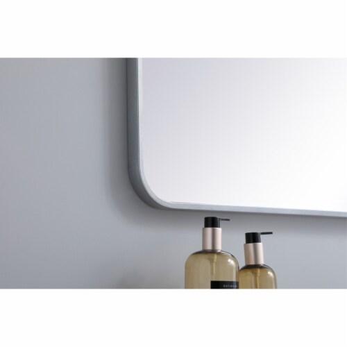 Soft corner metal rectangular mirror 36x40 inch in Silver Perspective: bottom
