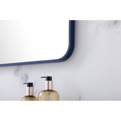 Soft corner metal rectangular mirror 36x40 inch in Blue Perspective: bottom