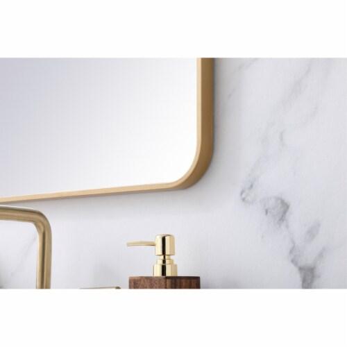 Soft corner metal rectangular mirror 22x30 inch in Brass Perspective: bottom