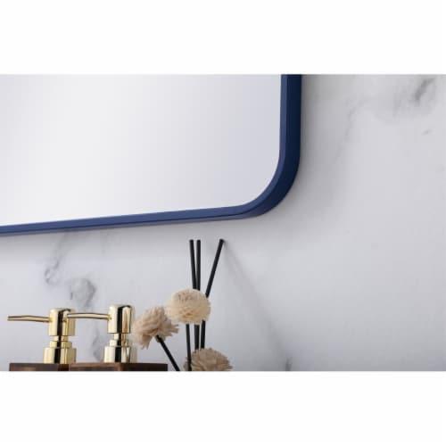 Soft corner metal rectangular mirror 22x40 inch in Blue Perspective: bottom