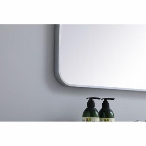 Soft corner metal rectangular mirror 27x40 inch in Silver Perspective: bottom