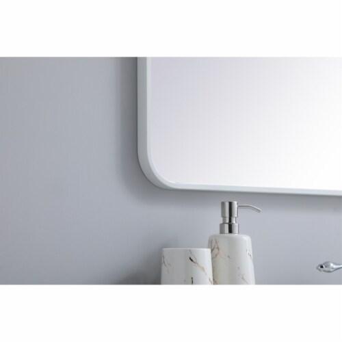 Soft corner metal rectangular mirror 27x40 inch in White Perspective: bottom