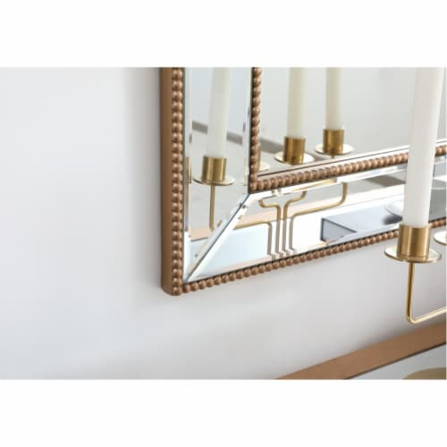 Iris beaded mirror 42 x 28 inch in antique gold Perspective: bottom