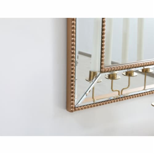 Iris beaded mirror 48 x 32 inch in antique gold Perspective: bottom