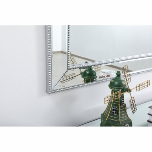 Iris beaded mirror 72 x 32 inch in antique silver Perspective: bottom