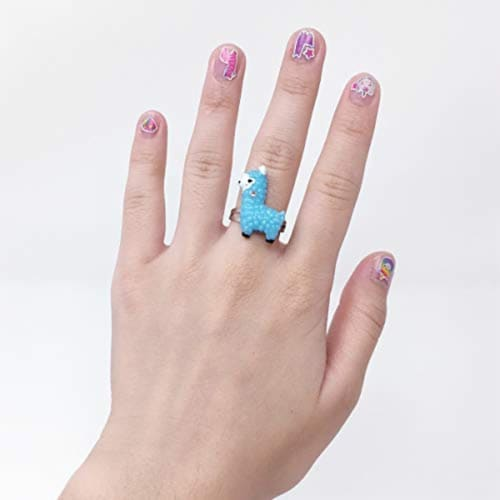 Scented Nail Glitz Llama - 20 Scented 3D Press on Nails, Matching Ring, 40+ Nail Stickers Perspective: bottom