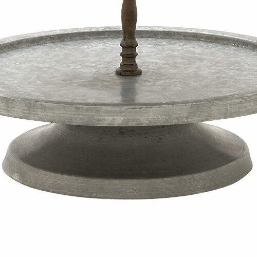Benzara Two-Tiered Galvanized Metal Stand with Handle - Gray/Brown Perspective: bottom