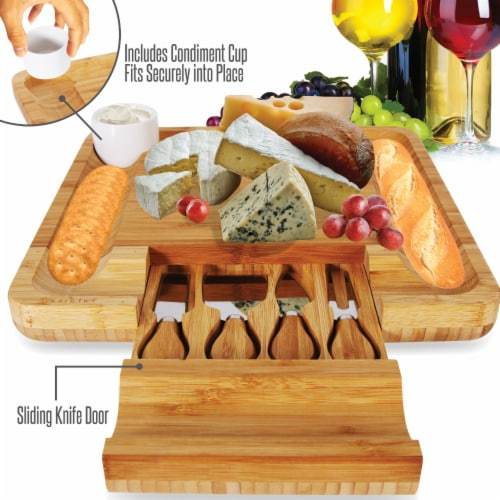 NutriChef PKCZBD10 Bamboo Cheese Cutting Board Perspective: bottom