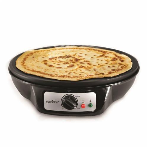 NutriChef Electric Nonstick Griddle Crepe Injera Maker Hot Plate Cooktop, Black Perspective: bottom