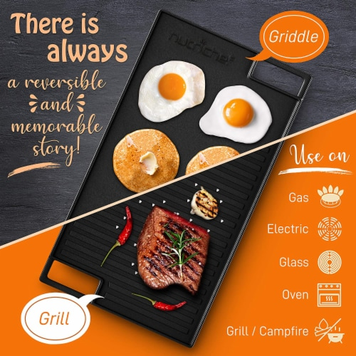 NutriChef NCCIRG59 18-Inch Cast Iron Reversible Grill Plate Perspective: bottom