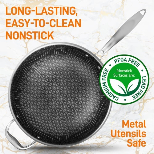 """NutriChef 12"""" Stainless Steel Nonstick Cooking Wok Stir Fry Pan with Lid, Silver Perspective: bottom"""