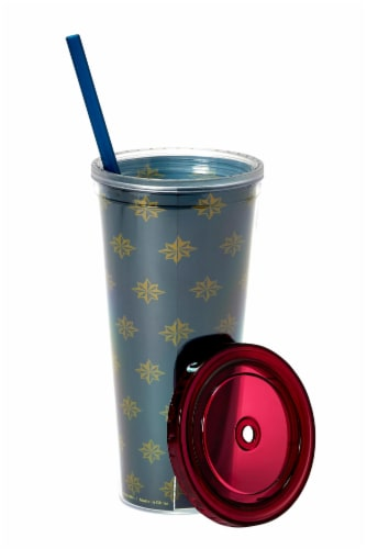 Marvel's Captain Marvel Actually I Can 16-Oz PVC Tumbler w/ Lid and Straw Perspective: bottom