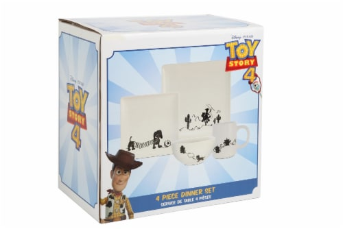 Toy Story 4-Piece Ceramic Dinnerware Set With Scribble Characters Perspective: bottom