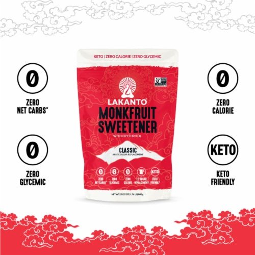 Lakanto Classic Monkfruit Sweetener - 1:1 White Sugar Substitute (1.76 lbs) Perspective: bottom