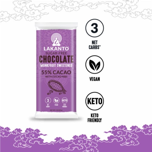 Sugar Free 55% Cacao Chocolate Bar with Cocoa Nibs Perspective: bottom