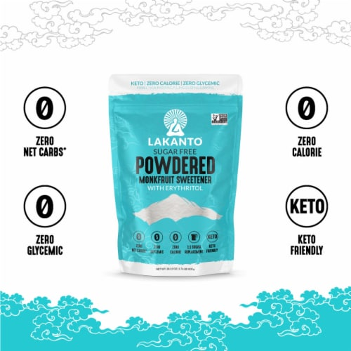 Lakanto Powdered Monkfruit Sweetener - 1:1 Powdered Sugar Substitute (1.76 lbs) Perspective: bottom