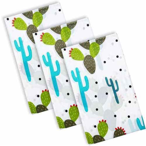 Juvale Cinco De Mayo Party Supplies, Cactus Table Cloth (54 x 108 in, 3 Pack) Perspective: bottom