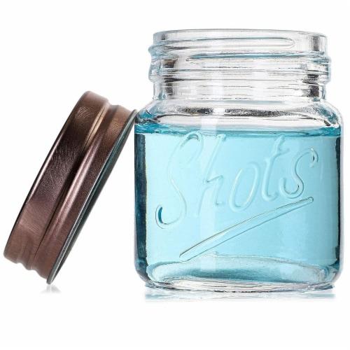 Mini Mason Jars Shot Glasses with Lids in Bulk Set (2 Ounce, 12-Pack) Perspective: bottom