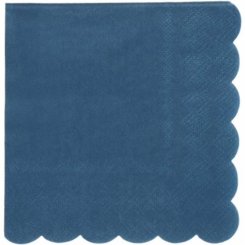 Scalloped Party Cocktail Napkins (5 x 5 In, Dark Blue, 100-Pack) Perspective: bottom