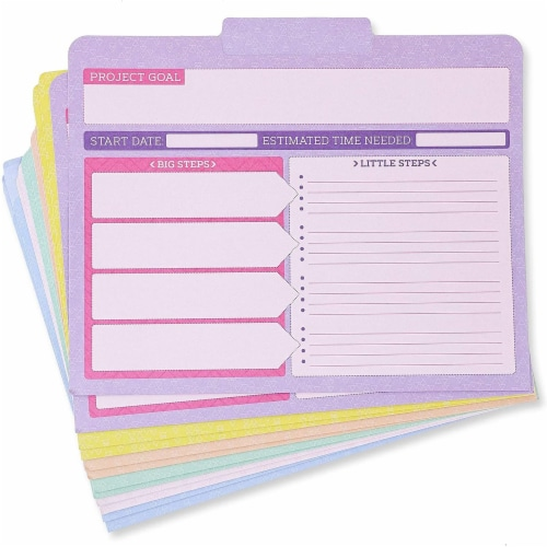 Project File Folders, 1/3 Cut Tab, Letter Size, Notes Section, 6 Colors (12 Pack) Perspective: bottom