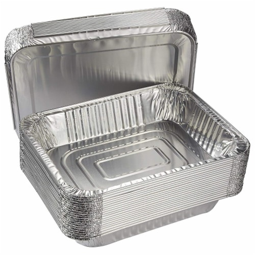 Half Size Aluminum Foil Pans, Deep Disposable Trays (12.7 x 2.2 x 10.2 In, 20 Pack) Perspective: bottom