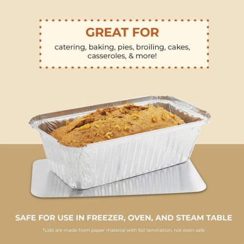 50 Pack Disposable Aluminum Foil Loaf Pans with Lid, 22 Ounce, 8.5 x 2.5 x 4.5 inches Perspective: bottom