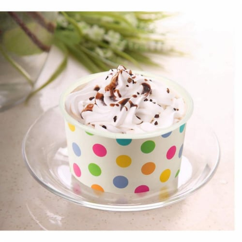 Rainbow Polka Dot Paper Ice Cream Cups for Birthday Party (8 oz, 50 Pack) Perspective: bottom