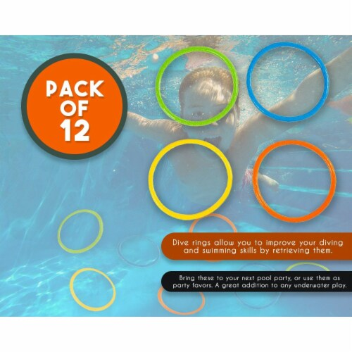 12 Pack Dive Ring Toys, Pool Toys for Kids, Multicolored, 6.3 Inches in Diameter Perspective: bottom