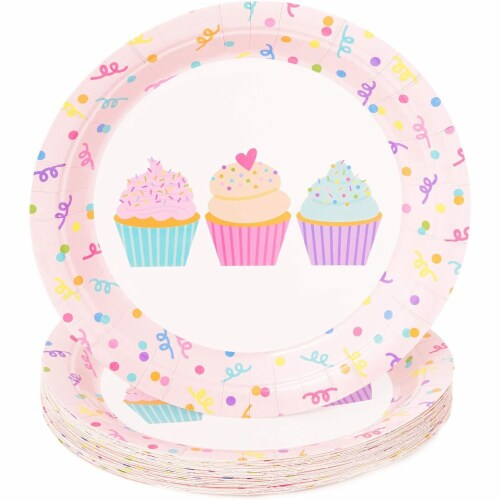 Cupcake Party Supplies, Paper Plates, Napkins, Cups and Cutlery (Serves 24, 144 Pieces) Perspective: bottom