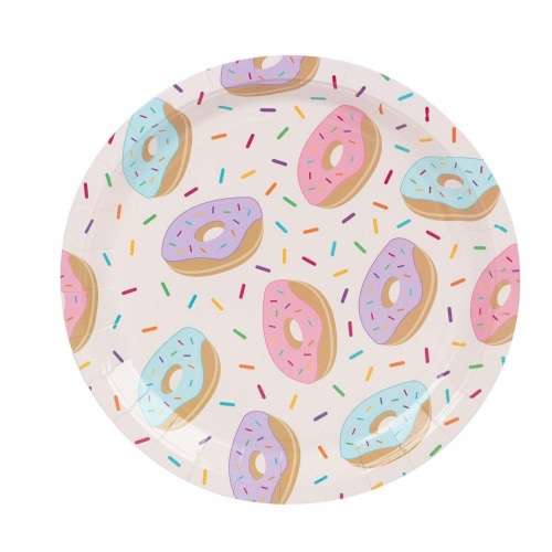 Donut Party Supplies, Paper Plates, Napkins, Cups and Plastic Cutlery (Serves 24, 144 Pieces) Perspective: bottom