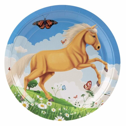 Horse Party Supplies, Paper Plates, Napkins, Cups and Plastic Cutlery (Serves 24, 144 Pieces) Perspective: bottom