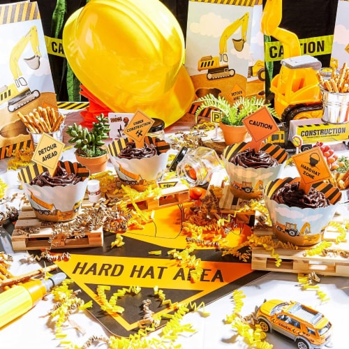 100-Piece Construction Zone Cupcake Toppers and Liners for Kids Birthday Party Supplies Perspective: bottom
