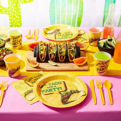 Taco Party Bundle, Includes Plates, Napkins, Cups, and Cutlery (24 Guests,144 Pieces) Perspective: bottom