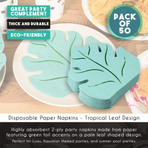 Green Leaf Shape Paper Napkins for Hawaiian Luau Party (6.4 x 6.2 In, 50 Pack) Perspective: bottom
