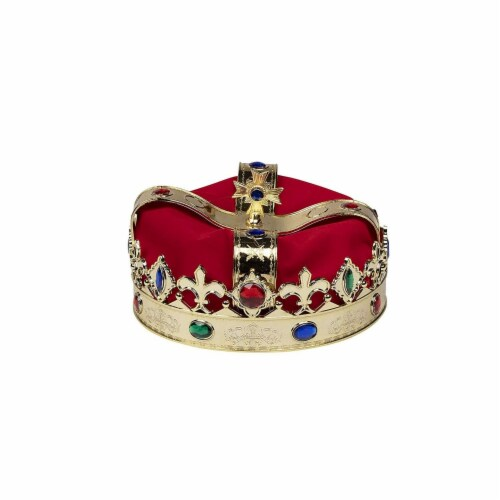 Gold Crown - 4-Pack Royal King and Queen Jeweled Costume Accessories, Party Hat Perspective: bottom