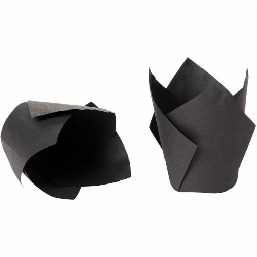 100-Pack Black Paper Tulip Cupcake Liners, Muffin Baking Cups Perspective: bottom