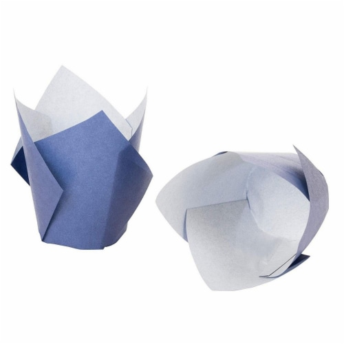 100-Pack Navy Blue Paper Tulip Cupcake Liners, Muffin Wrappers, Baking Cups Perspective: bottom