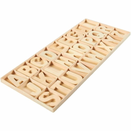 104 Piece Set Wooden Letters with Storage Tray - 4 Piece Each Letter, Natural Perspective: bottom