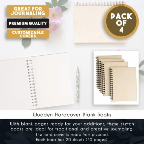 Wooden Cover Spiral Journal Notebooks, 20 Sheets Each (4.5 x 5.8 In, 4 Pack) Perspective: bottom