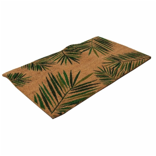 Tropical Green Palm Welcome Mat, Natural Coir Doormat (30 x 17.2 x 0.5 in) Perspective: bottom