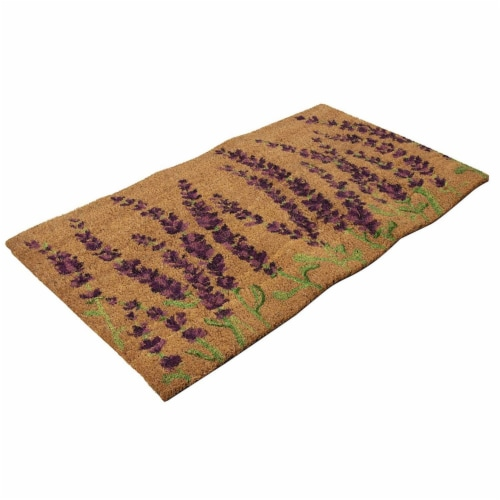 Lavender Plant Welcome Mat, Natural Coir Doormat (30 x 17.2 x 0.5 in) Perspective: bottom