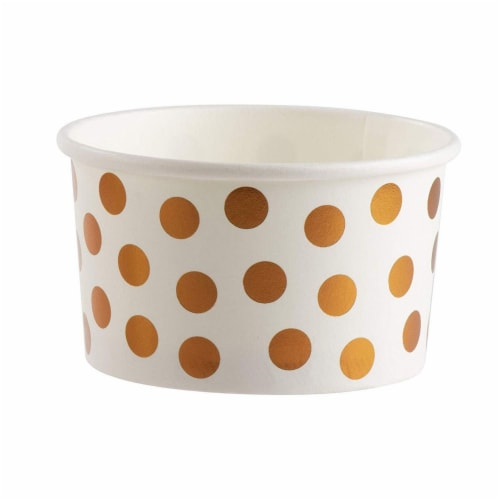 50-Pack 8 oz Disposable Paper Ice Cream Cup, Rose Gold Foil Polka Dots Design, White Perspective: bottom