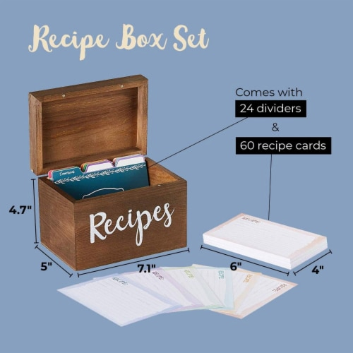 Juvale Wood Recipe Organization Box with Cards and Dividers, 7.1 x 5 x 4.7 Inches Perspective: bottom