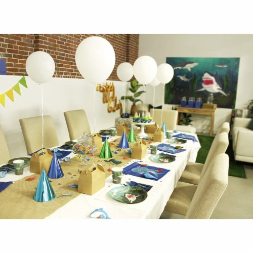 Shark Party Bundle Includes Plates, Napkins, Cups, and Cutlery (Serves 24, 144 Pieces) Perspective: bottom