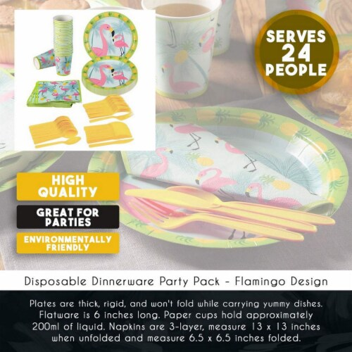 Flamingo Party Bundle Includes Plates, Napkins, Cups, and Cutlery (Serves 24,144 Pieces) Perspective: bottom