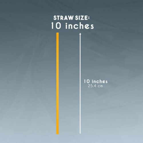 """300ct Plastic Orange Disposable Party Drinking Straws, Extra Long 10"""" Perspective: bottom"""