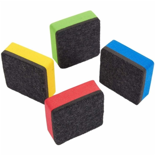 Mini Whiteboard Erasers for Classroom Supplies, Smiley Face (4 Colors, 24 Pack) Perspective: bottom